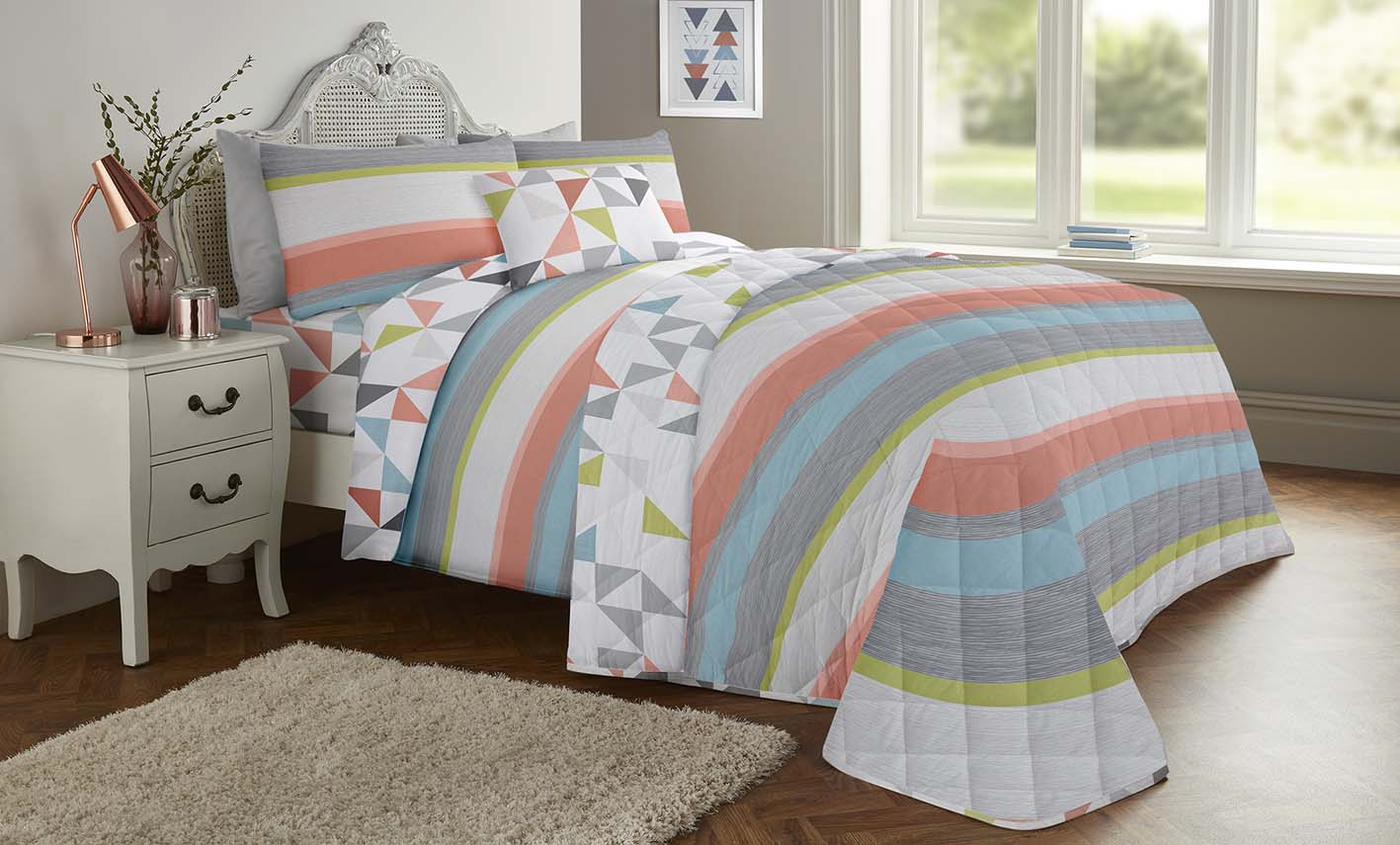 Paint Brush Strokes Grey Polycotton Quilt Duvet Cover Bedding Single Double King